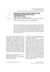 Benefiting from network position:firm capabilities structural holes and performance