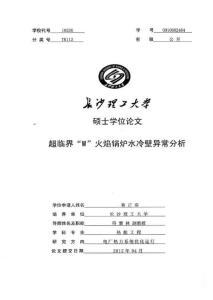 2012硕士论文_超临界W火焰锅炉水冷壁异常分析
