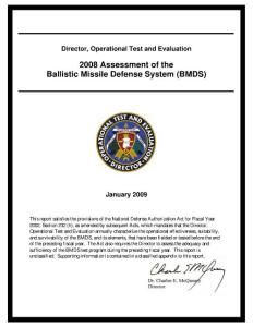 Director  Operational Test and Evaluation 2008 Assessment of the Ballistic Missile Defense System (BMDS)