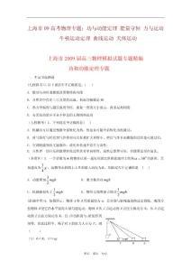 上海市09高考物理專題:功與動能定理 能量守恒 力與運動 牛頓運動定理 曲線運動 天體運動
