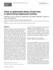 value of gadoxetate biliary transit time in determining hepatocyte function