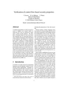 verification of control flow based security properties