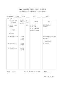 2009年深圳大学硕士生招生专业目录中国哲学
